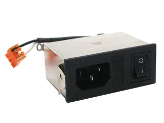 Netzfilter –  mit Kaltgeräte-Anschluss, Netzschalter und integriertem Sicherungshalter –  erforderliche Einbauöffnung: 65 x 27 mm –  Schaltleistung: 250 V~/6 A
